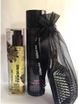 Shu Uemura Protective Oil, Sheer Lacquer Hårlak + Mini Paddle Brush 450 ml.-20